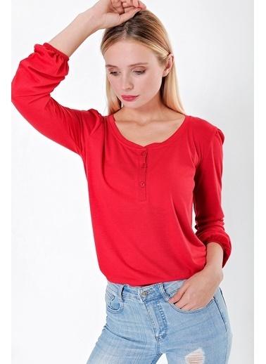 Jument Jument 20049 Geniş Sıfır Yaka Düğmeli Kol Lastikli Bel Polyester Krem Kadın Likralı Bluz Kırmızı